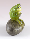 Little Green Frog Sitting On Rock Mini Figurine 2