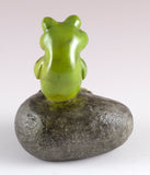 Little Green Frog Sitting On Rock Mini Figurine 3