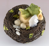 Baby Fairy Sleeping In Baby Owl Nest With Eggs Figurine