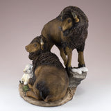 Bison Buffalo Family With White Calf Figurine