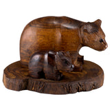 Bear With Cub Hand Carved Ironwood Wood Figurine 1