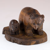 Bear With Cub Hand Carved Ironwood Wood Figurine 2