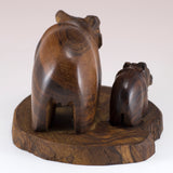 Bear With Cub Hand Carved Ironwood Wood Figurine 4