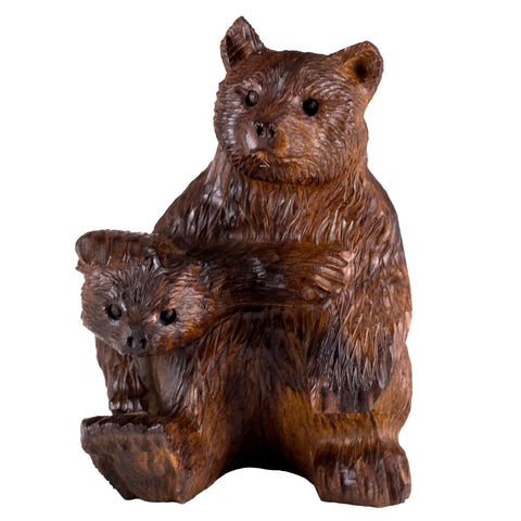 Bear With Cub Hand Carved Ironwood Wood Figurine 5