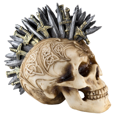 Skull With Swords Knives Figurine