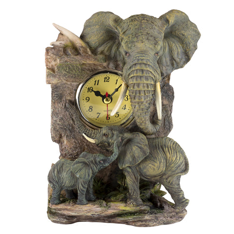 Elephant Mother and Baby Clock Figurine
