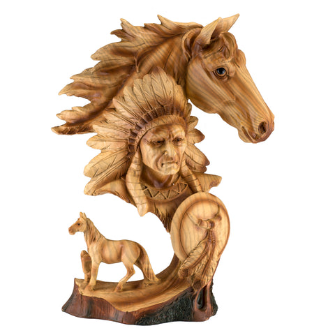 Indian Chief Horse Bust Faux Carved Wood Figurine