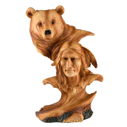 Native American Indian With Bear Faux Carved Wood Look Figurine