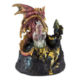 Red Dragon On Castle Figurine