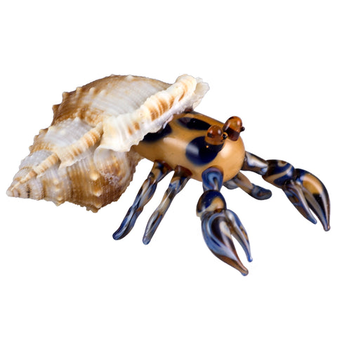 Crab In Natural Shell Blue and Amber Hand Blown Glass Figurine