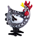 Plymouth Rock Hen Miniature Hand Blown Glass Chicken Figurine 1