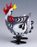 Plymouth Rock Hen Miniature Hand Blown Glass Chicken Figurine 22