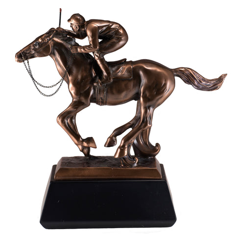 Jockey On Race Horse Figurine Bronze Copper Plated Statue