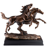 Galloping Horses Figurine Bronze Copper Plated Statue