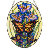 Monarch Butterflies and Iris Suncatcher Hand Painted Glass By AMIA Studios
