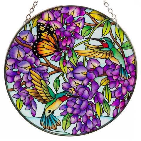 Hummingbirds and Butterfly Suncatcher Hand Painted Glass By AMIA Studios