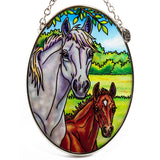 Mare and Foal Horse Suncatcher Hand Painted Glass By AMIA