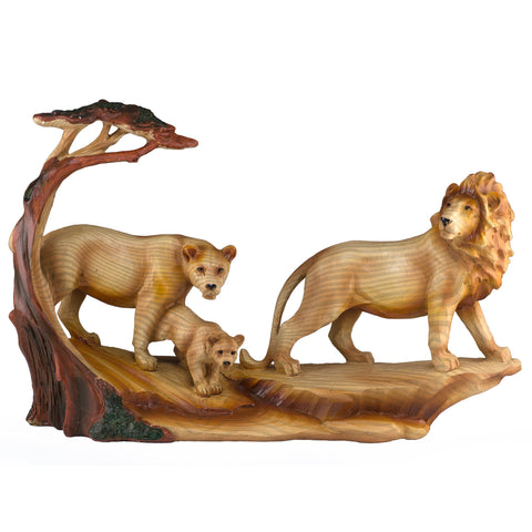 Lion Family Faux Carved Wood Look Figurine