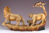 Lion Family Faux Carved Wood Look Figurine 2