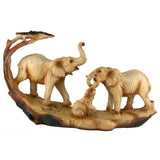 Elephant Family Faux Carved Wood Look Figurine