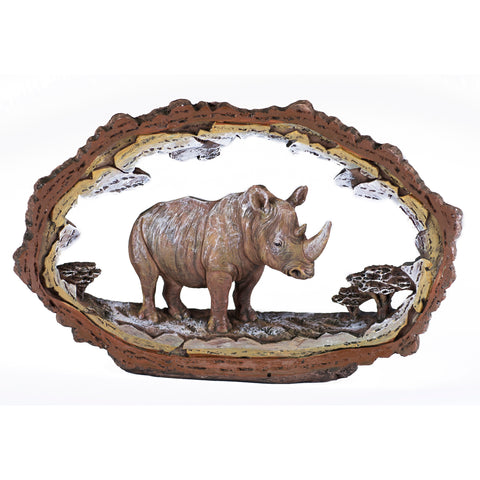 Rhinoceros Figurine Faux Carved Wood Look Bark Frame