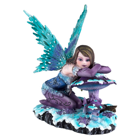 Blue and Purple Fairy On Mushroom In Snow Figurine 1