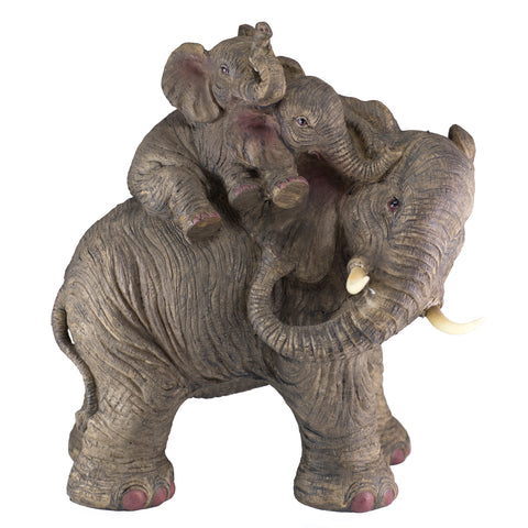 Elephant Mother With Babies On Back Figurine 1