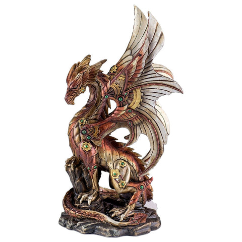Steampunk Dragon On Rock Figurine