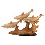 Dolphins On Waves (3) Faux Carved Wood Look Figurine