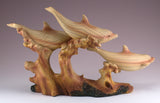 Dolphins On Waves Faux Carved Wood Figurine 3