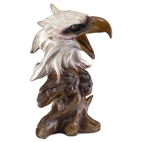 Bald Eagle Head Bust Carved Wood Look Figurine