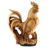 Rooster Chicken Figurine Faux Carved Wood 1