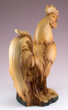 Rooster Chicken Figurine Faux Carved Wood 4