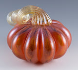 Orange Pumpkin With Amber Stem Hand Blown Glass 2
