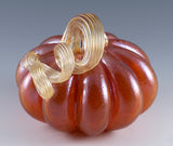 Orange Pumpkin With Amber Stem Hand Blown Glass 3