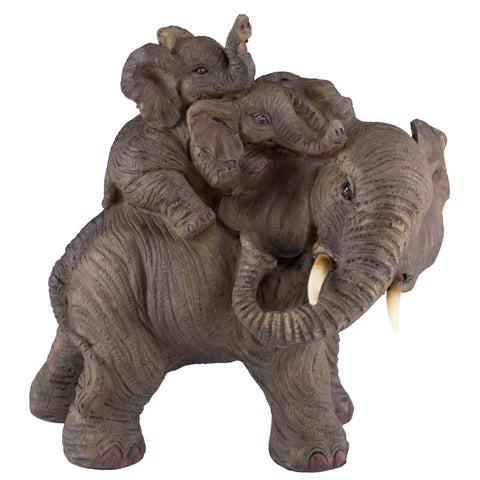 Elephant Mother With Babies On Back Figurine