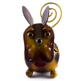 Handcrafted Brown Dog Figurine Tin Metal Animal Sculpture 3