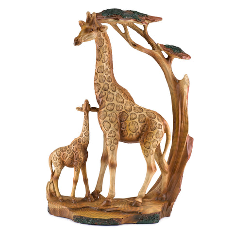 Mother and Baby Giraffe Faux Carved Wood Look Figurine