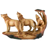 Wolf Family With Cub Howling Carved Wood Look Figurine 1