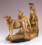 Wolf Family With Cub Howling Carved Wood Look Figurine 2