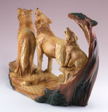 Wolf Family With Cub Howling Carved Wood Look Figurine 4