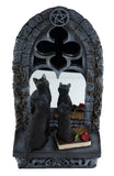 Two Black Cats In Front of Window Mirror Figurine