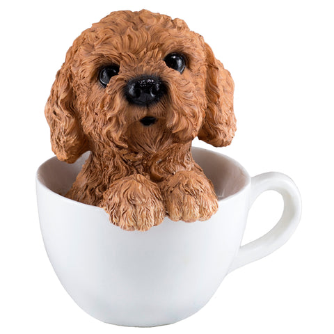 Brown Toy Poodle In A Tea Cup Dog Figurine