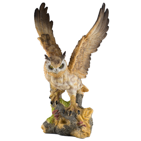 Brown Horned Owl Figurine With Wings Up