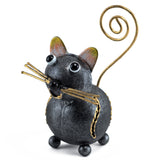 Handcrafted Gray Cat Figurine Curly Tail Tin Metal Animal Sculpture 1
