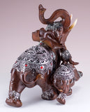 Thai Elephant Mother With Calf Figurine 6""