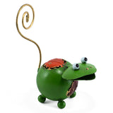 Handcrafted Green Frog Figurine Tin Metal Animal Sculpture 3