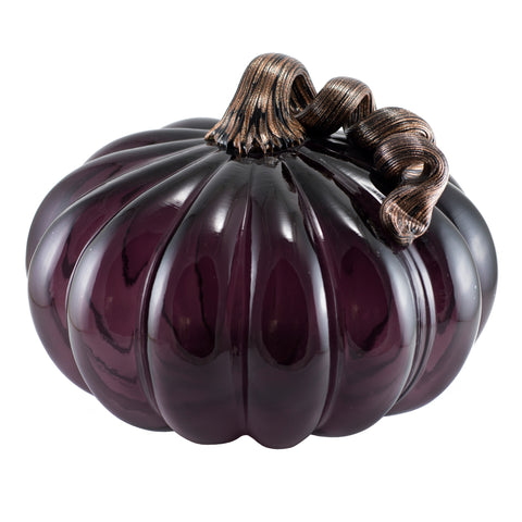 Amethyst Purple Pumpkin With Sparkly Stem Hand Blown Glass