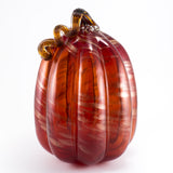 Scarlet Red Pumpkin With Sparkly Swirls Curly Stem Hand Blown Glass