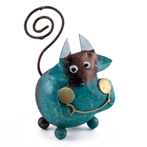 Handcrafted Blue Cow Figurine Tin Metal Animal Sculpture 1